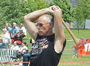 Bruce Harris of Bay City tries the amature ax throwing