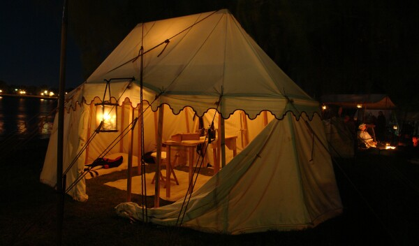 European style tents from early exploration period. & MyBayCity.com River of Time - From Native Americans to World War II