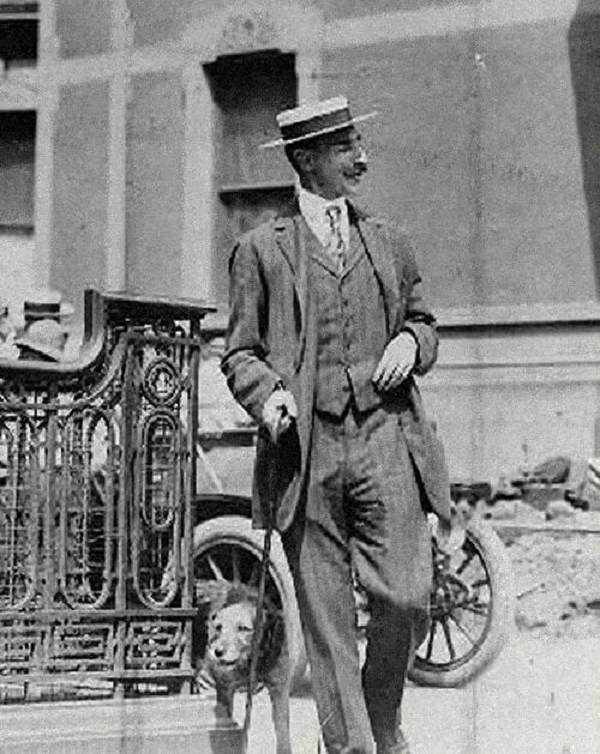 John Jacob Astor Iv Walks His Dog